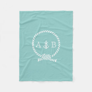 Mint Nautical Rope and Anchor Monogrammed Fleece Blanket