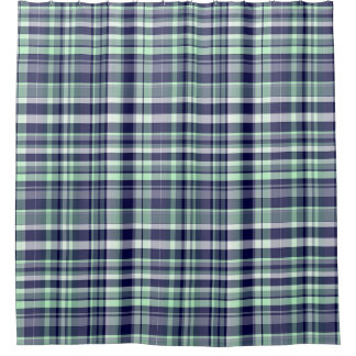 Mint, Navy Blue, White Preppy Madras Plaid