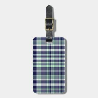 Mint, Navy Blue, White Preppy Madras Plaid Luggage Tag