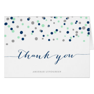 Mint & Navy Confetti Dots Thank You Card