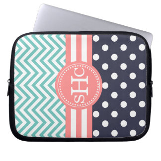 Mint, Navy & Coral Chevron Polka Dots Personalized Laptop Computer Sleeves