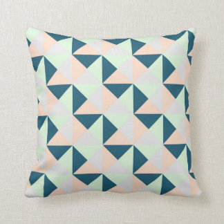 Mint Navy Peach Grey Geometric Triangles Pillow