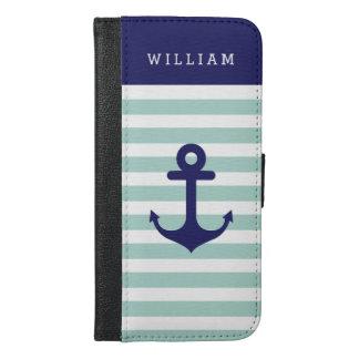 Mint Navy Strips - Classy Nautical Anchor Monogram iPhone 6/6s Plus Wallet Case