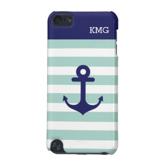 Mint Navy Strips Pattern Nautical Anchor Monogram iPod Touch (5th Generation) Cover