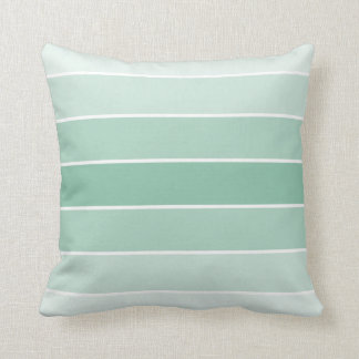 Mint Ombre Stripes Throw Pillow