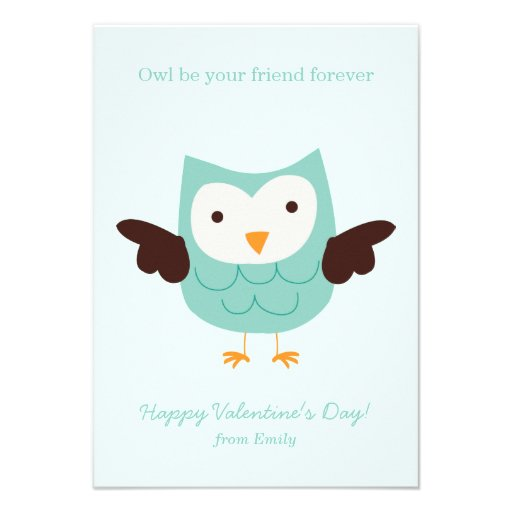 Mint Owl Valentines Invites