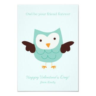 Mint Owl Valentines 3.5x5 Paper Invitation Card