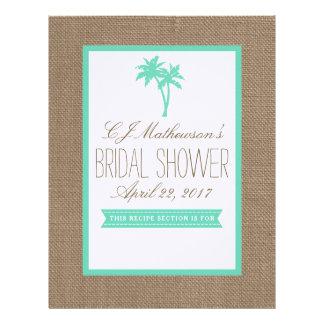 Mint Palm Tree Beach Bridal Shower Recipe Divider Letterhead