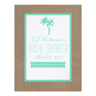 Mint Palm Tree Beach Bridal Shower Recipe Divider Personalized Letterhead