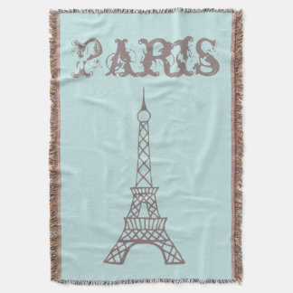 Mint Paris Eiffel Tower Throw Blanket