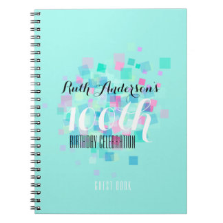Mint Pastel Colors 100th Birthday Party GuestBook Notebook