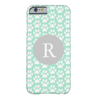Mint Paw Prints Monogram Barely There iPhone 6 Case