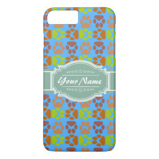 Mint Paw Prints Personalized Name iPhone 7 Plus Case