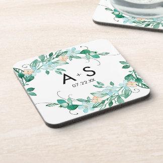 Mint & Peach Floral Wreath Chic Wedding Monogram Coaster