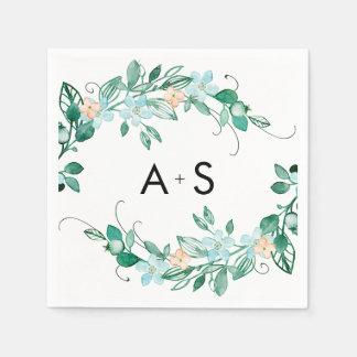 Mint & Peach Floral Wreath Chic Wedding Monogram Disposable Napkins
