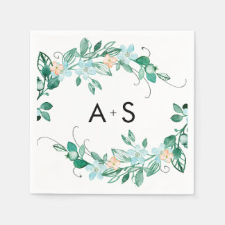 Mint & Peach Floral Wreath Chic Wedding Monogram Paper Napkin