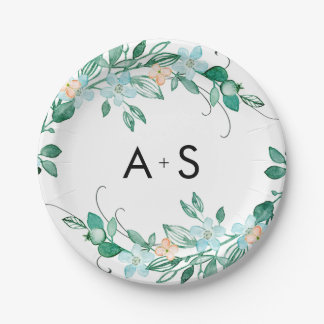 Mint & Peach Floral Wreath Chic Wedding Monogram Paper Plate