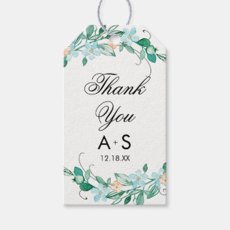 Mint & Peach Floral Wreath Chic Wedding Thank You Gift Tags