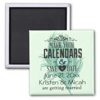 Mint Peacock Feather Save the Date Square Magnet