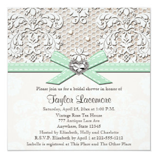 Mint Pearl Lace Diamond Bridal Shower Invitation