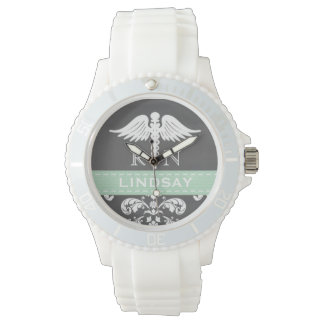 MINT PERSONALIZED NURSE RN CADUCEUS CHALKBOARD WATCH