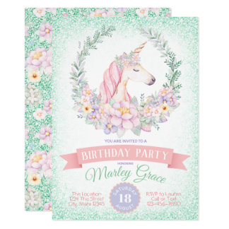 Mint Pink Cute Unicorn Birthday Party Invitations