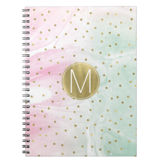 Mint Pink Gold Ombre Confetti Monogram Notebooks