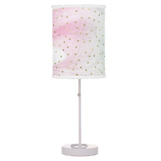 Mint Pink Gold Ombre Confetti Table Lamp