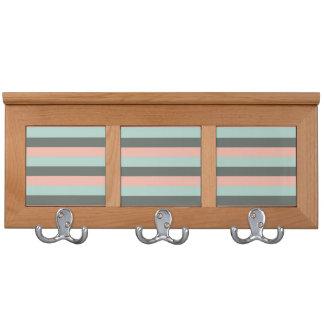 Mint Pink Gray Fashion Trendy Stripes Mod Pattern Coat Rack
