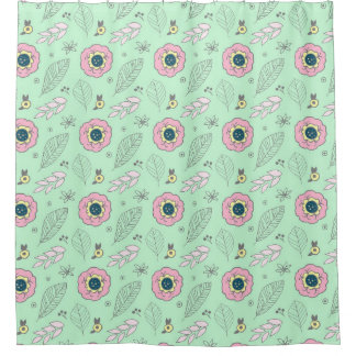 Mint Pink Navy Floral Pattern Shower Curtain