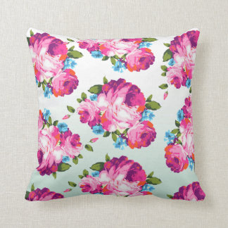 Mint & Pink Ombre Floral Cushion Throw Pillow