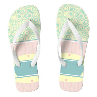 Mint Pink Pastel Swirls and Stripes Fip Flops Flip Flops