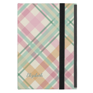 mint pink raspberry orange pastels plaid iPad mini cover