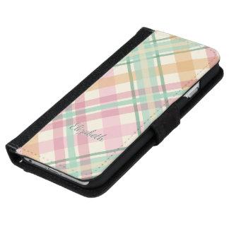 mint pink raspberry orange pastels plaid iPhone 6 wallet case