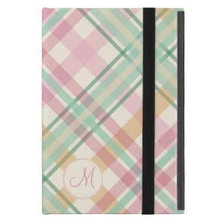 mint pink raspberry orange pastels plaid monogram cover for iPad mini