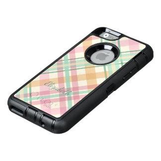 mint pink raspberry orange pastels plaid OtterBox defender iPhone case