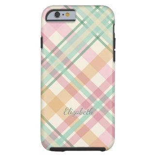 mint pink raspberry orange pastels plaid tough iPhone 6 case