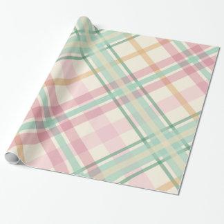 mint pink raspberry orange summertime tartan plaid wrapping paper