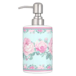 Mint pink rose floral shabby chic  bathroom set