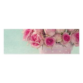 mint,pink roses,shabby chic,elegant,hipster,modern mini business card