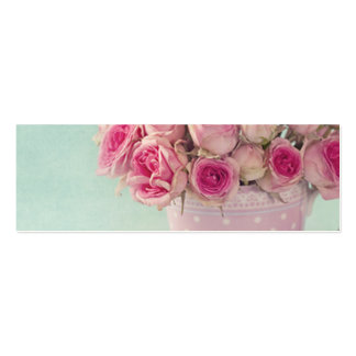 mint,pink roses,shabby chic,elegant,hipster,modern pack of skinny business cards