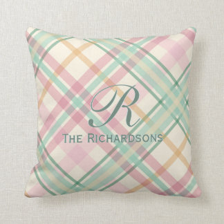 mint pink summery plaid with family monogram name throw pillow