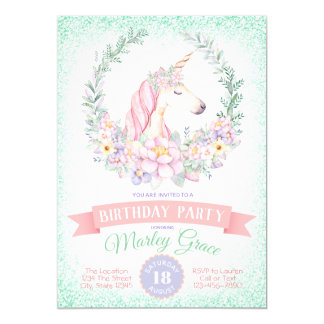 Mint Pink Unicorn Birthday Party Invitations