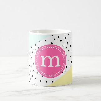 Mint, Pink & Yellow Summer Personalized Monogram Coffee Mug