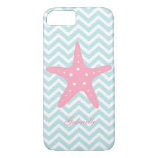Mint & Pink Zigzag Pattern Starfish iPhone 8/7 Case