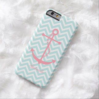 Mint & Pink Zigzags Pattern Anchor Barely There iPhone 6 Case