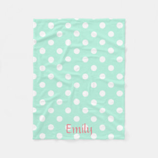Mint polka dot fleece blacket