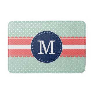 Mint Polka Dot Pattern Coral Navy Blue Monogram Pi Bath Mat