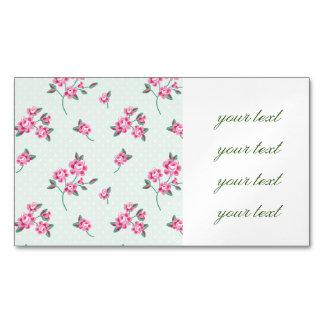 mint,polka dot,roses,shabby chic,pattern,girly,tre business card magnet