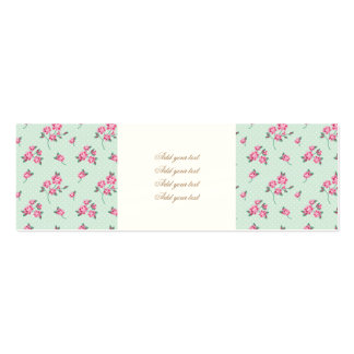 mint,polka dot,roses,shabby chic,pattern,girly,tre pack of skinny business cards